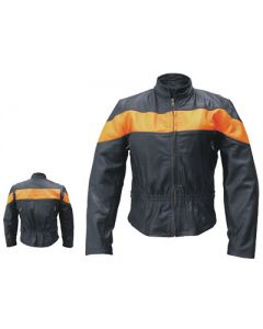 Ladies Vented Orange Two Toned Motorcycle Jacket