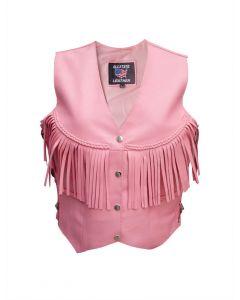 Ladies Pink Fringe Vest With Braid