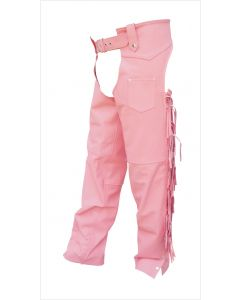 Ladies Pink Chaps With Braid and Fringe