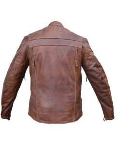 Brown LeatherTouring Motorcycle Jacket  with zip-out Lining