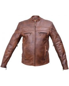 Brown Leather Touring Motorcycle Jacket  with zip-out Lining