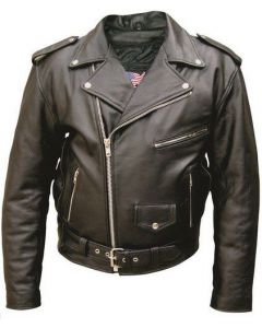 Mens Classic Biker Leather Motorcycle Jacket