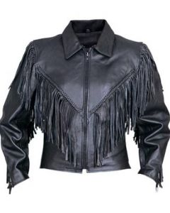 Black Fringe Biker Leather Jacket