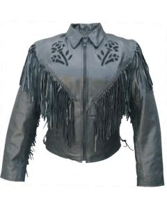 Black Rose Fringe Biker Leather Jacket