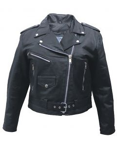 Classic 80s Rocker Biker Ladies Leather Jacket