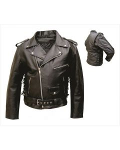 Quality mens motorcycle jacket in Premium Leather, side laces with removable zip out lining.