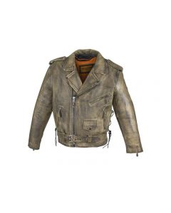 Men's Brown Motorcycle Jacket with Gun Pockets