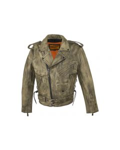 Mens Distressed Brown Leather Motorcycle Jacket With Black Leather Side Laces