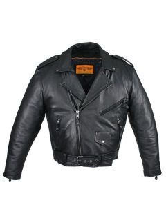 Mens Naked Cowhide Leather Motorcycle Jacket With Snap Down Collar & Belt