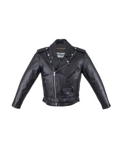 Mens Motorcycle Jacket With Snap Down Collar & Belt