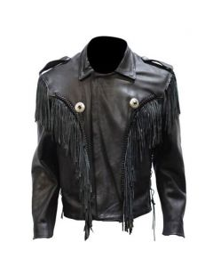 Mens Leather Bon Jovi Jacket With Braid