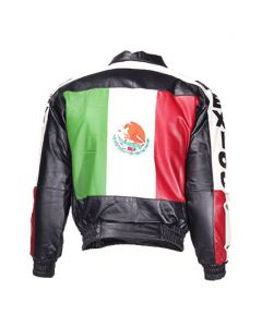 Mens Motorcycle Mexico Flag Jacket Leather Jakcet