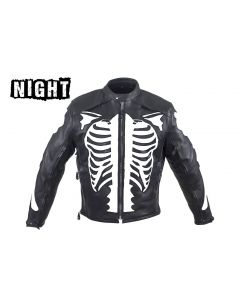 Mens Reflective Skeleton Leather Motorcycle Jacket