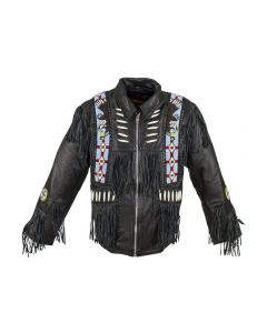 Men's Western Style Leather Motorcycle Jacket with Beads & Bone