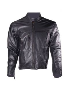 Mens Leather Motorcycle Jacket with Z/o Lining