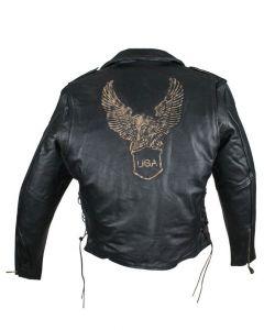 Mens Retro Black Motorcycle Jacket W/ Raised American Eagle