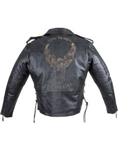 Mens Leather Motorcycle Jacket With Eagle