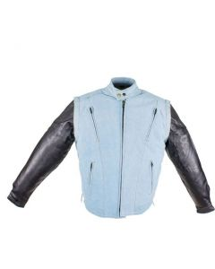 Men's Denim-like Leather Racer Jacket W/ Removable Sleeves