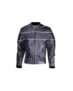 Leather Motorcycle Jacket With Black Stripes