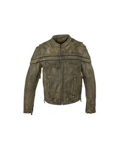 Mens Distressed Brown Leather Motorcycle Jacket With Zipper On Front