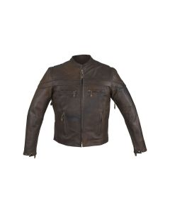 Men's Brown Naked Cowhide Leather Jacket