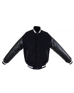 Men's Black & White Varsity Baseball Jacket