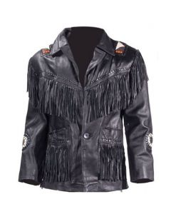 Mens Western Style Motorcycle Jacket With Fringes & Beads