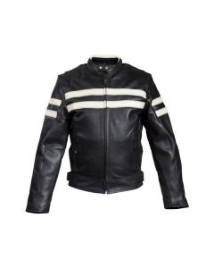 Mens Leather Jacket With Cream Stripes