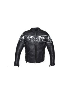 Mens Leather Jacket With Sleek Collar and Reflective Skulls & Gun Pockets