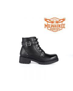 Black 6-Eye Motorcycle Boots W/ Zipper