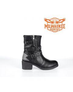 Zippered Studded Buckle Biker Boots