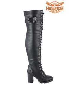 Knee High Laced Biker Boots