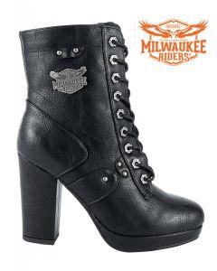 Leather Zippered Chunky Heel Biker Boots