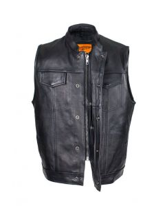 Dream Apparel Mens Motorcycle CLUB VEST Naked Cowhide Leather, Zipper Front, Concealed Front Snaps