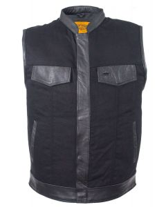 Mens Black Denim Biker Vest With Leather Trims & Front Zip Up