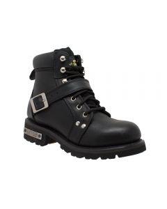 Women's YKK Zipper Black Biker Boots