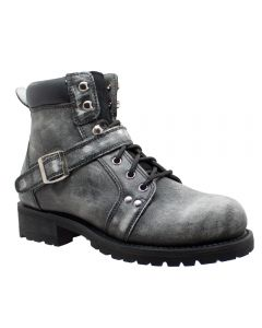 "Men's 6"" Zipper Lace Stonewashed Leather Boots"
