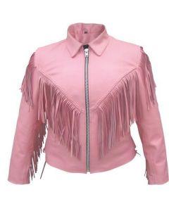 Pink Fringe Biker Leather Jacket