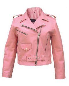 Pink Fringe Leather Jacket