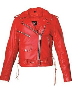 Quality Red Biker Leather Jacket NYC