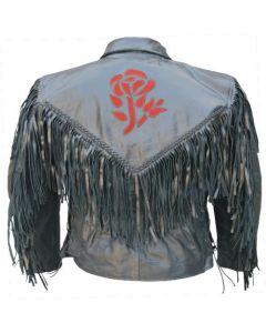 Red Rose Biker Leather Fringe Jacket