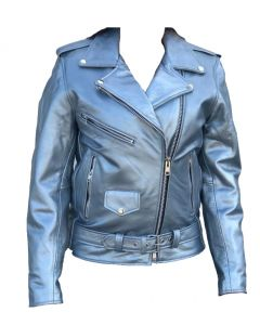 Quality Silver Biker Leather Jacket