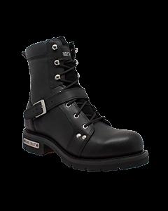 "Men's 6"" YKK Zipper Black Biker Boot"