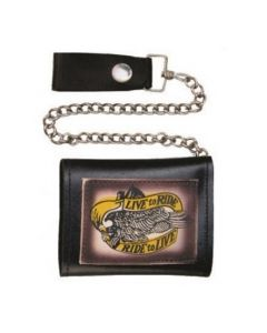 """""""Live to Ride/Ride to Live"""" Tri-fold Chain Wallet"""