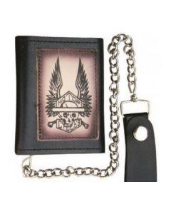Skeleton & Wings Tri-fold Chain Wallet