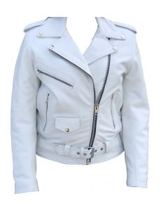 Snow White Biker Leather  Jacket