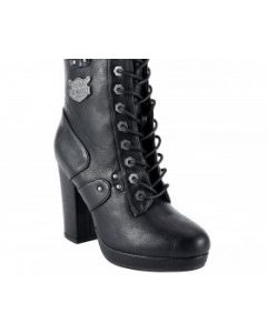 Women's Leather Zippered Chunky Heel Boots
